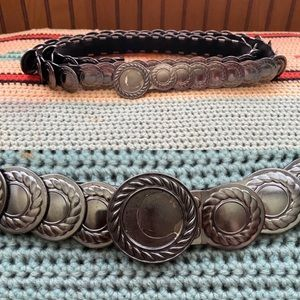 Boho silver crescent moon elastic coin belt